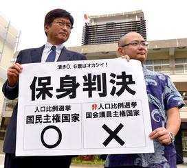 判決を受け、福岡高裁那覇支部前で「保身判決」と書かれた紙を掲げる原告側の弁護士=20日午後