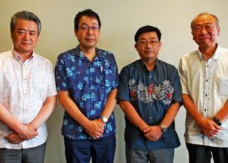 沖縄の観光と物産フェアをPRした湊博昭支社長(左から2人目)ら=沖縄タイムス社