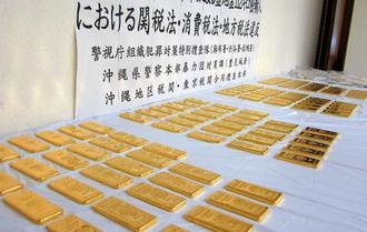 プライべートジェット機で金地金約110キロを密輸したとして、2016年6月に暴力団関係者らが逮捕された=沖縄地区税関提供