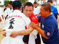 海老沼「ヒント得た」 柔道日本代表、沖縄角力に汗