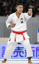 There are growing expectations for Okinawa natives such as Ryo Kiyuna, pictured, who won his sixth-straight men's 'kata' national championship in December, to seize gold in the 2020 Tokyo Olympics.
