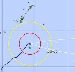 4月23日午後6時現在の台風2号の経路図(気象庁HPより)