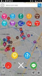 バリアフリーのトイレや駐車場、レストランの位置が一目で分かるアプリ「ウィーログ」の画面