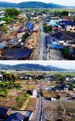 2016年5月13日(上)と今月7日の熊本県益城町。倒壊した家屋が撤去され更地が広がる(小型無人機から)