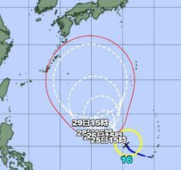24日午後3時現在の台風16号の経路図(気象庁HPから)