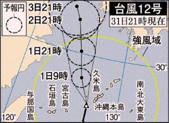 台風12号 7月31日21時現在