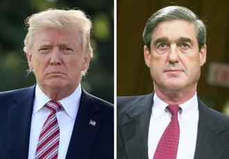 左からトランプ米大統領(ゲッティ=共同)、モラー米特別検察官(AP=共同)