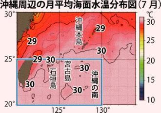 沖縄周辺の月平均海面水温分布図(7月)