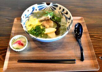 自家製麺とオリジナルのスープにこだわった「よもぎそば」
