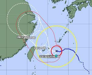 21日午後4時の台風6号の経路図(気象庁HPから)