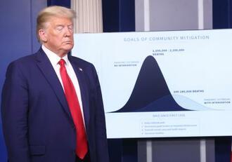 米ホワイトハウスで記者会見するトランプ大統領=3月31日、ワシントン(ゲッティ=共同)