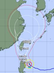 台風14号の経路図(気象庁HPから)
