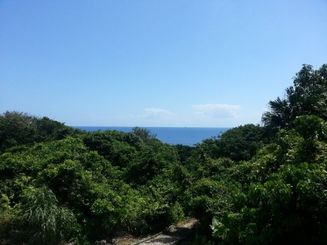 健児之塔の近くから見た海。父はこの海の景色を見て名護湾を思い浮かべ、残してきた家族のことを思っただろうか