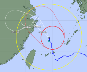 台風6号の位置=24日午後3時50分(気象庁のHPから引用)