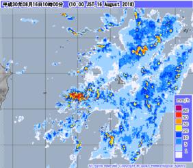 気象レーダーによる降水強度分布観測。16日午前10時頃、地図上で西表島が見えなくなるほどの降水量だったことが分かる(気象庁ホームページから)