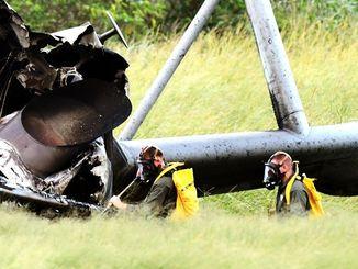沖縄県東村高江で炎上した米軍ヘリ。機体の一部に放射性物質が使用されていた