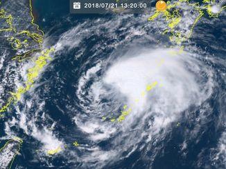 台風10号(21日13時20分現在、ひまわり8号リアルタイムwebから)
