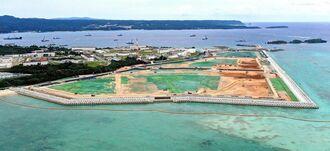 新基地建設が進む米軍キャンプ・シュワブ沿岸部=沖縄県、名護市辺野古