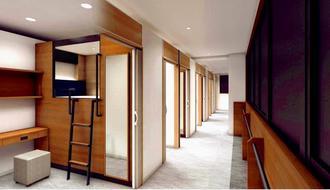 那覇市東町にオープンする「キャビン・ホテル」内部のイメージ図(ピータイム提供)