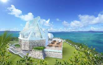 「古宇利島 空と海の教会」の完成イメージ図(ワタベウェディング提供)