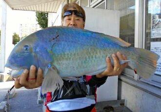 安謝海岸で69センチ、5.71キロのマクブを釣った國仲秀信さん=3日