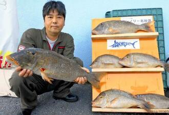 本部海岸で69センチのムネアカクチビを釣った古謝茂さん=21日