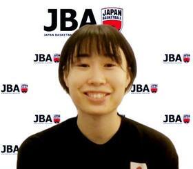 オンラインで取材に応じるバスケットボール女子日本代表候補の本橋菜子=6日