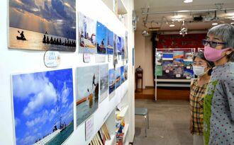 名護市辺野古の新基地建設の現場や大浦湾などの写真を見つめる来場者ら=25日、東京都文京区の本郷文化フォーラム・ホール