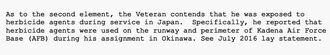 1960年代に嘉手納基地で枯れ葉剤にさらされた元軍人の証言記録。米退役軍人省は前立腺がんのこの元軍人に補償金を支払っている(同省作成)