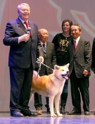 17日、ロシア・ウラジオストクで開かれた日本祭りに登場した秋田犬(共同)