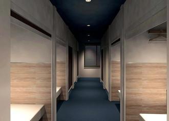 「ブルーキャビン石垣島」の宿泊室。各部屋はロールスクリーンで開閉する(ユニマットプレシャス提供)