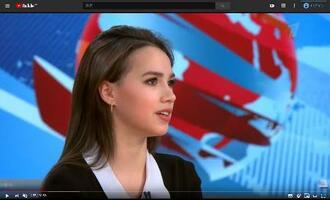ロシアの政府系テレビ「第1チャンネル」の番組で、事実上の引退を表明したフィギュアスケートのアリーナ・ザギトワ(第1チャンネルの公式ユーチューブから)
