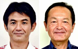 (左から)岸本洋平市議と渡具知武豊市長