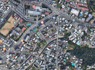 イグアナと見られる生き物が目撃された市立病院駅から那覇市松島2丁目付近(Googleマップより)