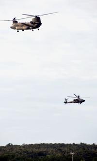 陸自ヘリ、米軍キャンプ・ハンセン使用 「場所を借りている」