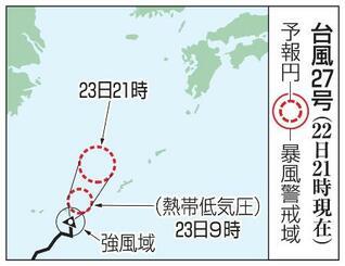 台風27号の予想進路(22日21時現在)