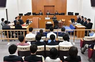 うるま市の女性殺害事件で、裁判員裁判の論告求刑公判が開かれた那覇地裁204号法廷=24日午前、那覇市樋川(代表撮影)